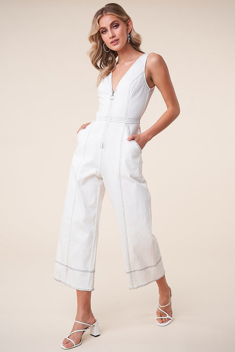 White Denim Zip Front Jumpsuit