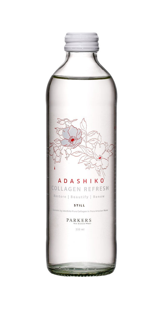 Collagen Refresh - 350ml bottle, still mineral water, label to the front | Adashiko Collagen | 100% Natural Skin Care