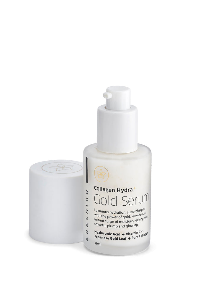 Collagen Hydra+ Gold Serum 50ml with cap off showing dispensing pump | Adashiko Collagen | 100% Natural Skin Care