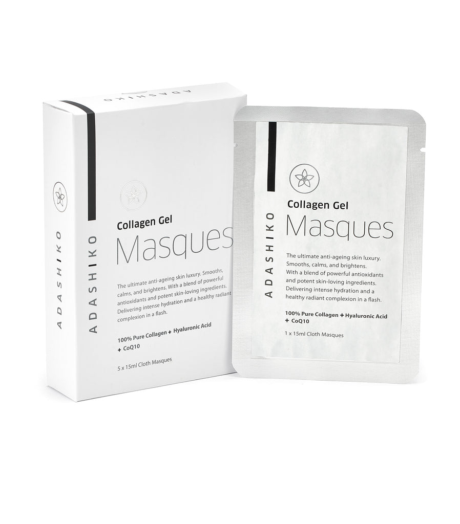 Collagen Gel Cloth Masque Box of 5 Masques next to a Single Masque Sachet | Adashiko Collagen | 100% Natural Skin Care