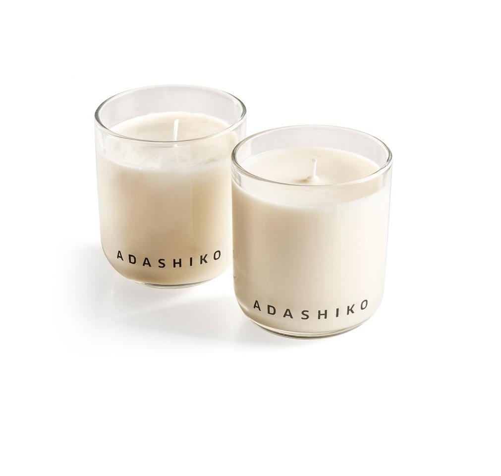 Adashiko Candle - two candles in glass jars side by side | Adashiko Collagen | 100% Natural Skin Care