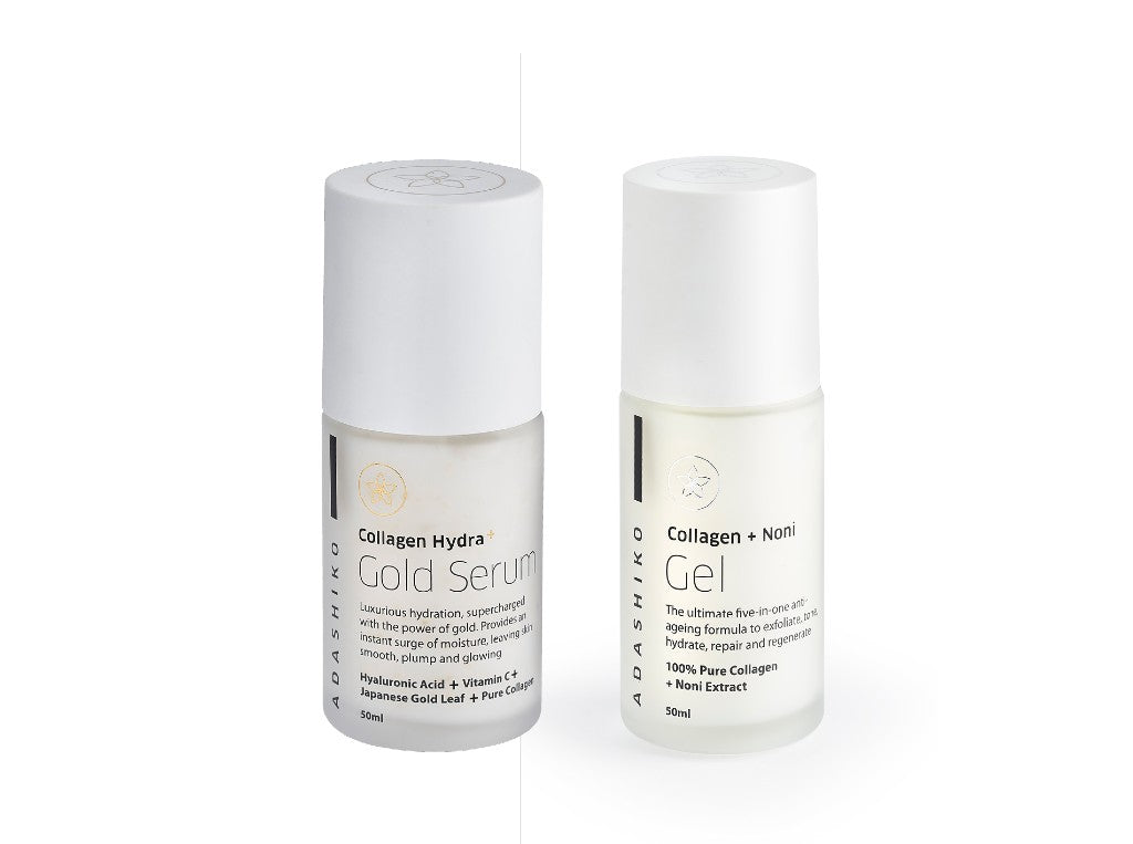 Hydrating Booster Duo - Hydra Gold Serum & Collagen + noni Gel glass jars side by side | Adashiko Collagen | 100% Natural Skin Care