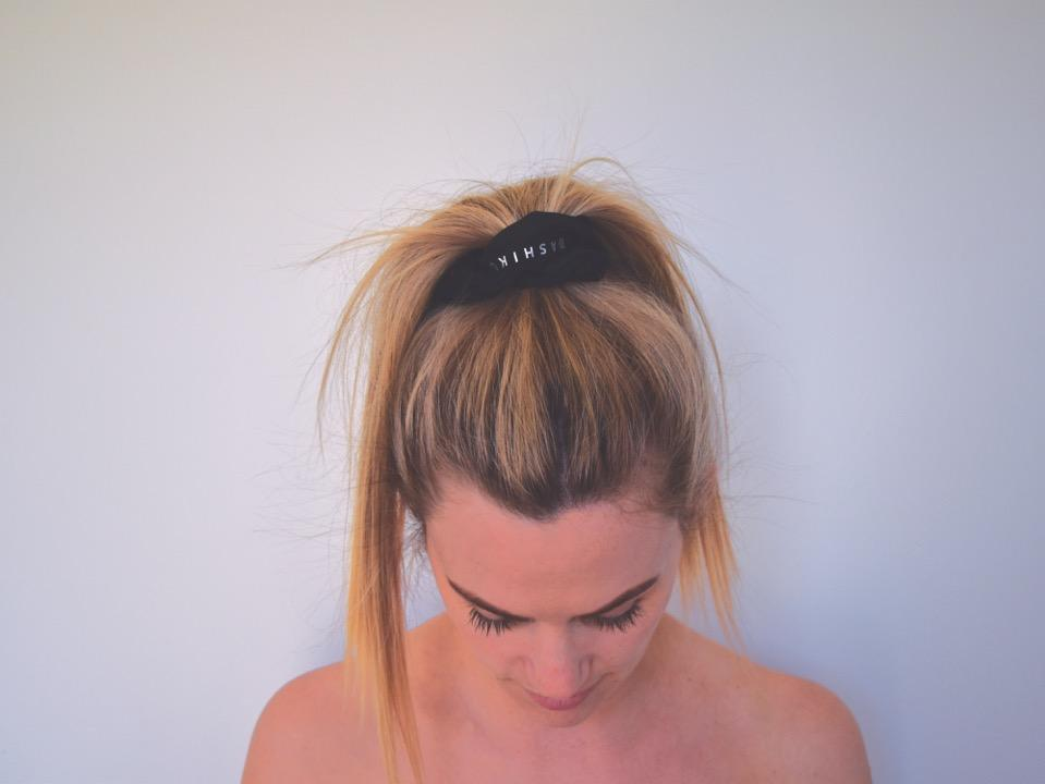 Luxe Silk Scrunchie - in use on a models hair | Adashiko Collagen | 100% Natural Skin Care
