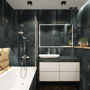 modern black white bathroom