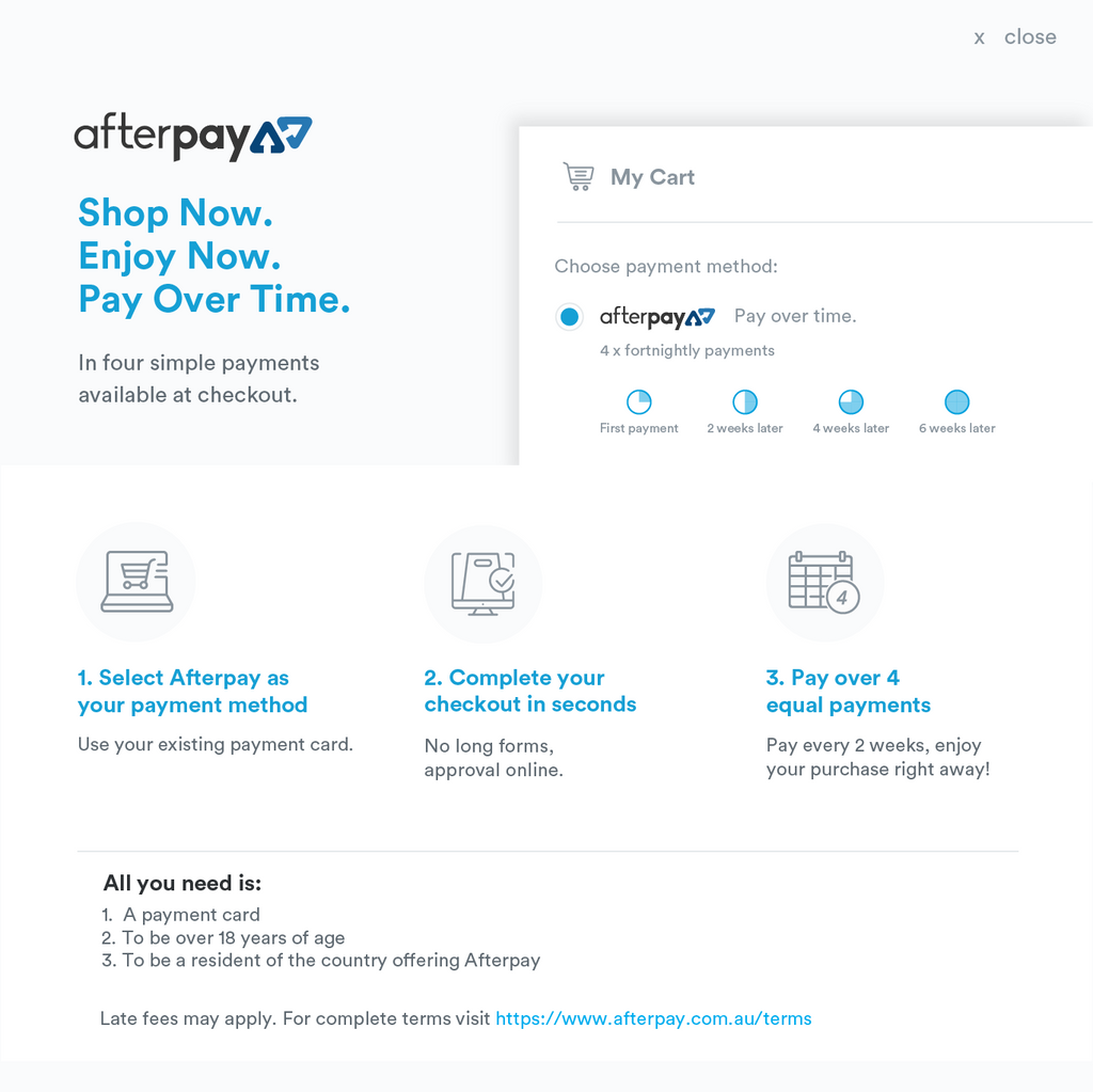 afterpay infographic on how the service works when shopping at sailor mouth soaps