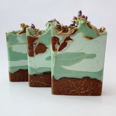 earthy cold process soap forest floor with glycerin rivers soap challenge club