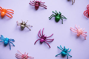 purple background with colourful fake spiders