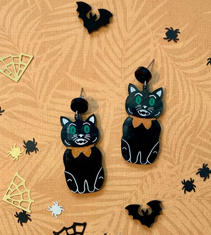 switch blade maid halloween retro kitty cat earings arcylic australia handmade