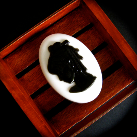 vintage style black and white bas relief soap