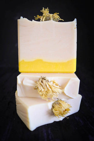 handmade white yellow soap with calendula flower