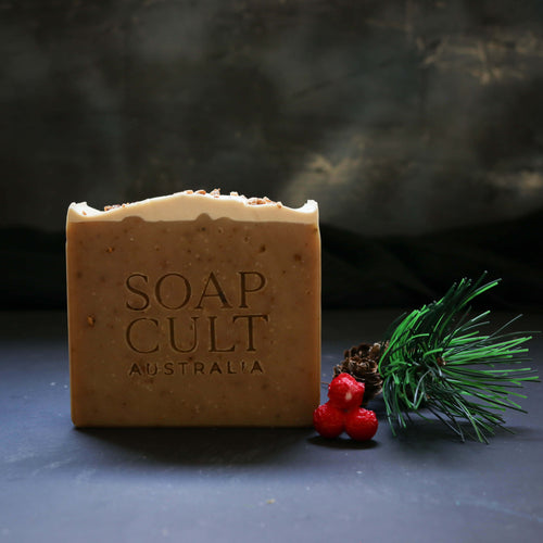 handmade hand stamped vegan christmas soap