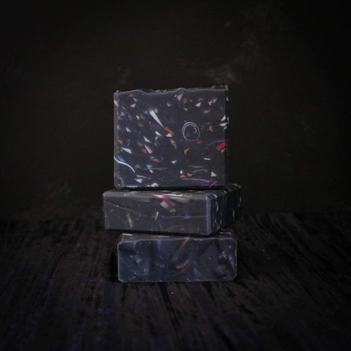 black terrazzo style soap with activated charcoal