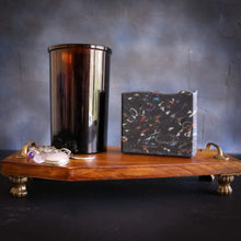 black soap on coffin basin tray with crystal jewellery amber glass