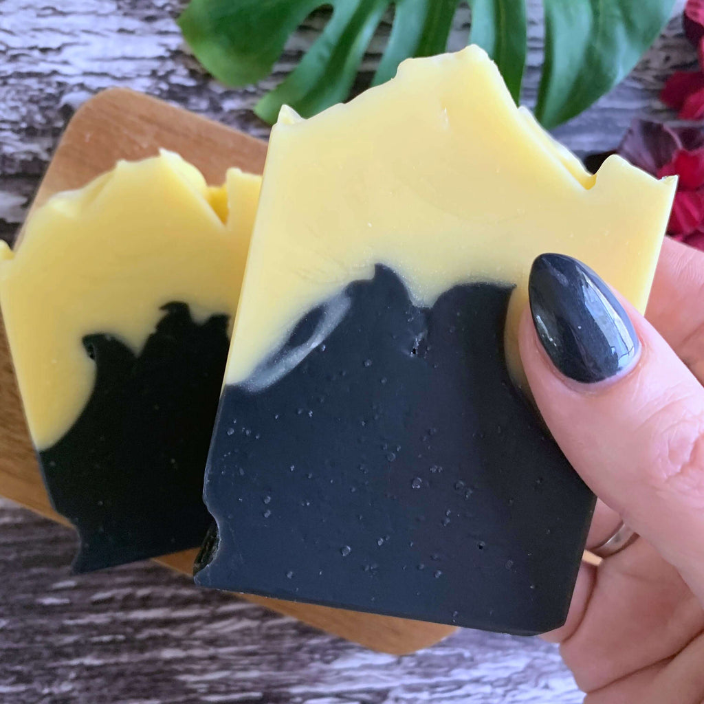 activated charcoal floral summer handmade soap