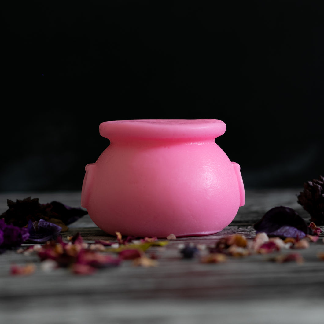 pastel pink witches cauldron by soap cult australia