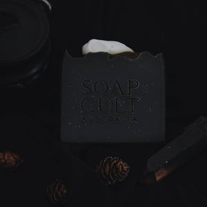 deep black halloween soap with raven skull bone included