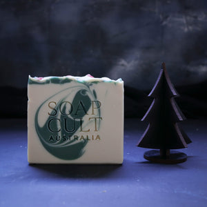 white green swirl christmas soap by soap cult