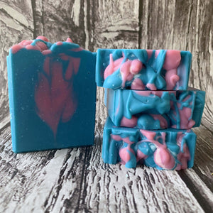 blue and pink handmade soap strawberry tea fragrance