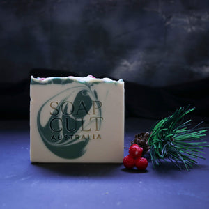 festive christmas soap with holly sprig