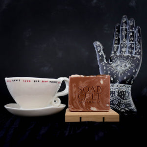 one of us organic coffee soap with tea leaf reading pottery mug and occult hand