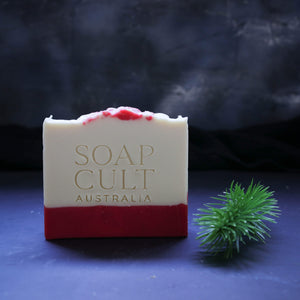 candy cane soap with christmas tree sprig