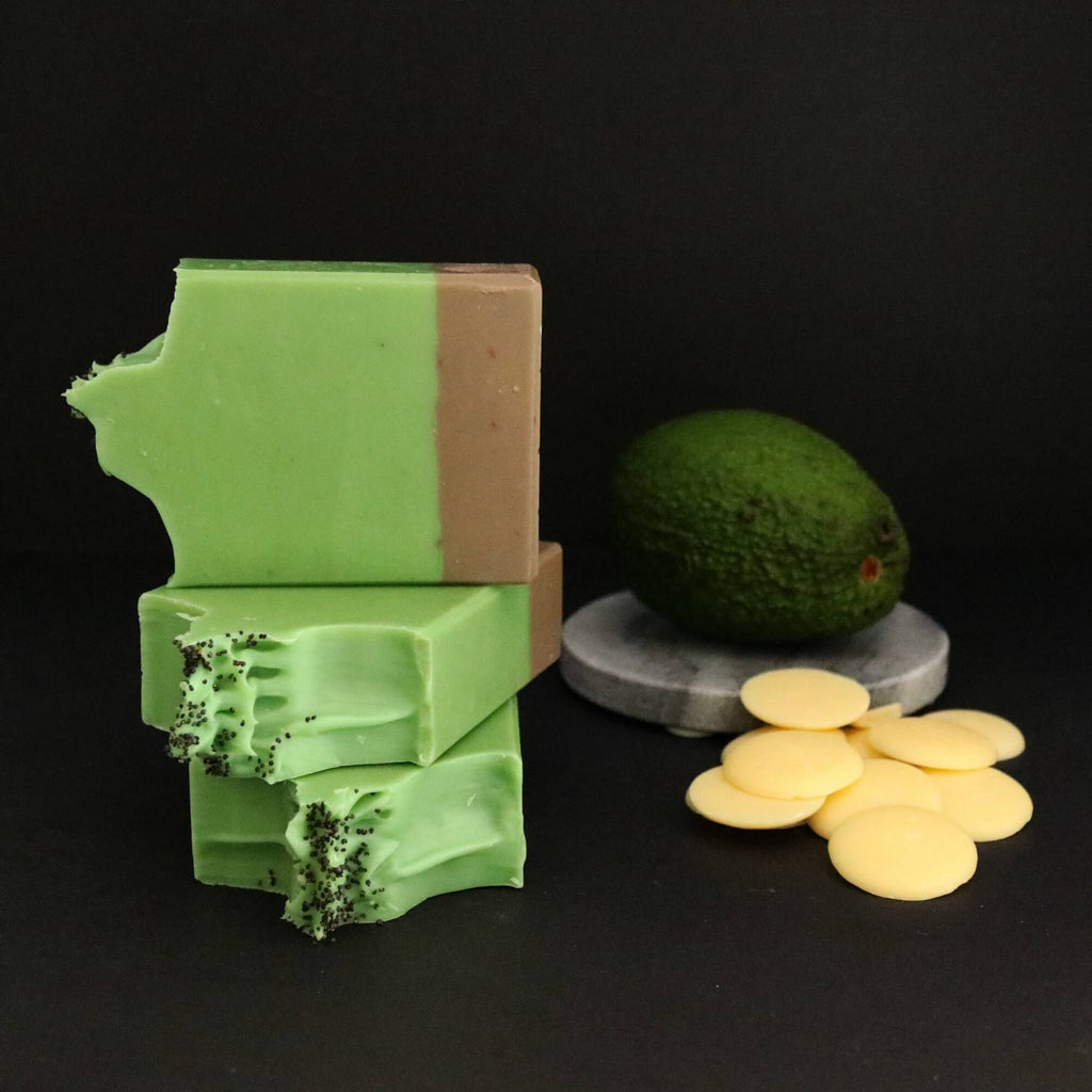 rich avocado fruit puree soap with raw organic cocoa butter