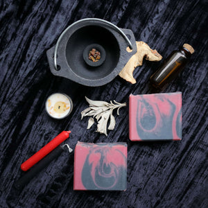 handmade soap flat lay with witchy magic tools