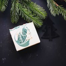 fresh pine christmas soap and holly berries
