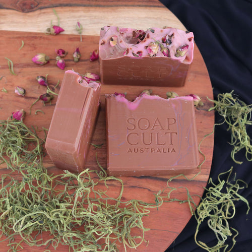 earthy handmade soap with organic roses moss australia