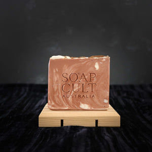 handmade natural organic coffee soap on handcrafted reclaimed timber soap dish