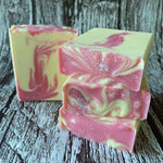 cream white pink swirled romantic soap handmade vegan cruelty free