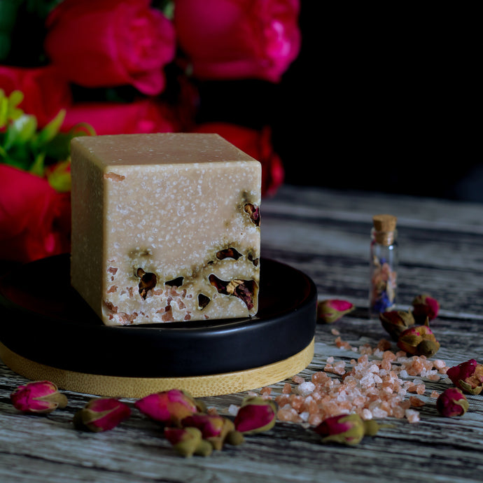 rose and pink salt berry and tea scented salt soap