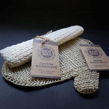 eco max natural cotton face washer and woven hemp bath mitt
