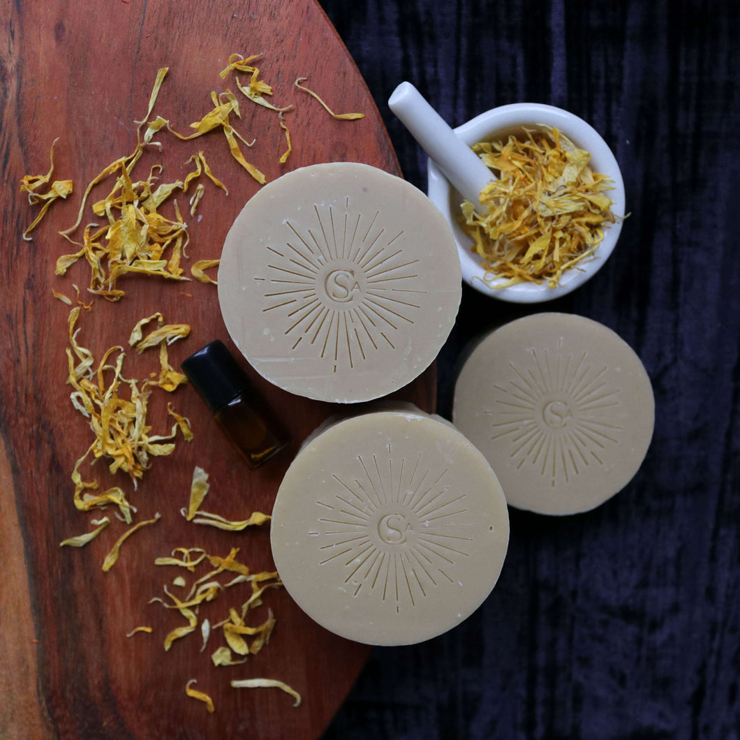 softening facial soap for dry skin calendula infused with clay and essential oils