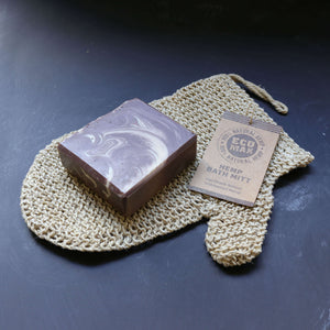 zero waste body exfoliating mitt with organic coffee soap