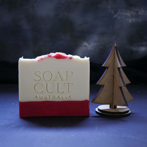 premium handmade soap for christmas candy cane scent