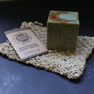 temple sea salt body soap with hemp soap saver wash bag