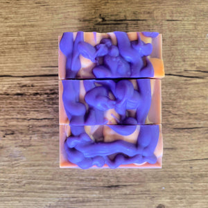 Orange and Raspberry Ripple Cold Process Soap