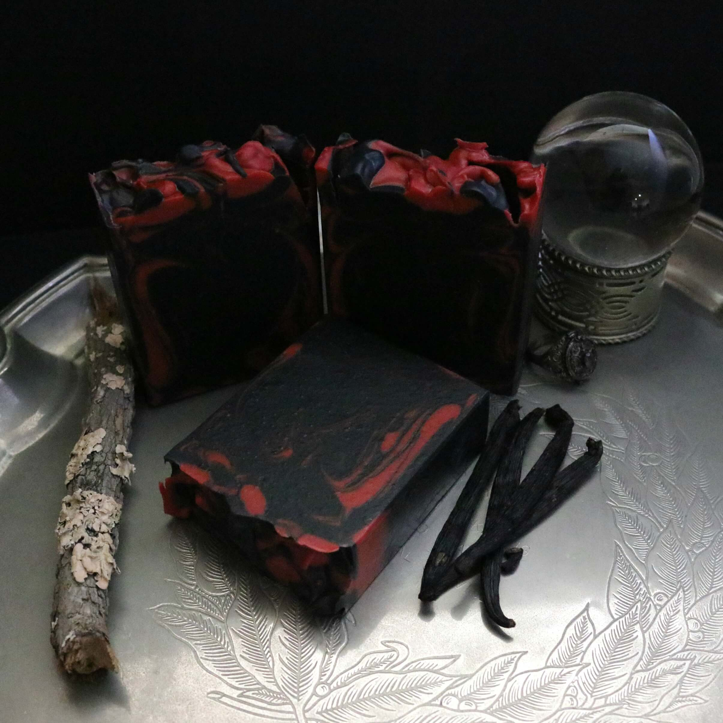 modern gothic soap crystal ball vanilla beans mossy stick witch vibes bathroom silver platter