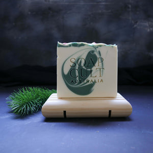 holly king soap on wooden soap dish australia