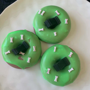 green apple zombie donut doughtnut soap with candy bones and headstone