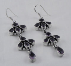 Faceted Amethyst Earrings - 2''
