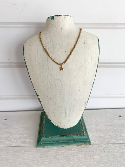 Star Worn Gold Beaded Necklace