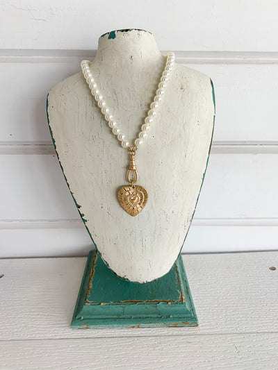 Eloise Pearl + Heart Necklace