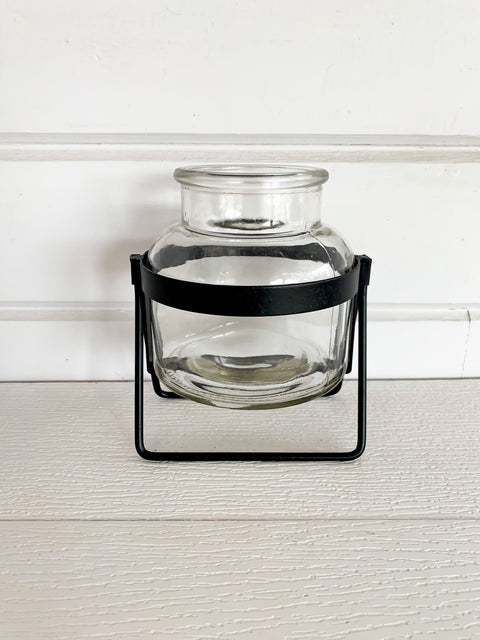 Glass Jar on Metal Stand
