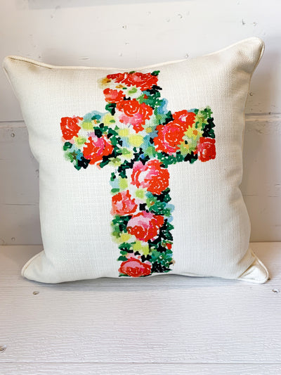 Spring Floral Cross Pillow