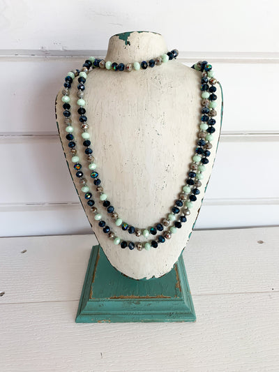 Long Crystal Bead Necklace (Multiple Colors)