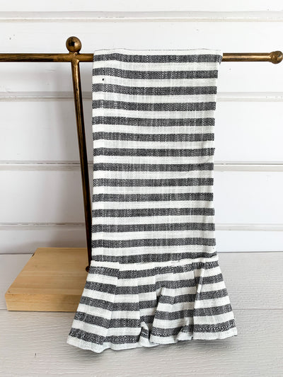 Striped Dish Towel with Ruffle (2 Colors)