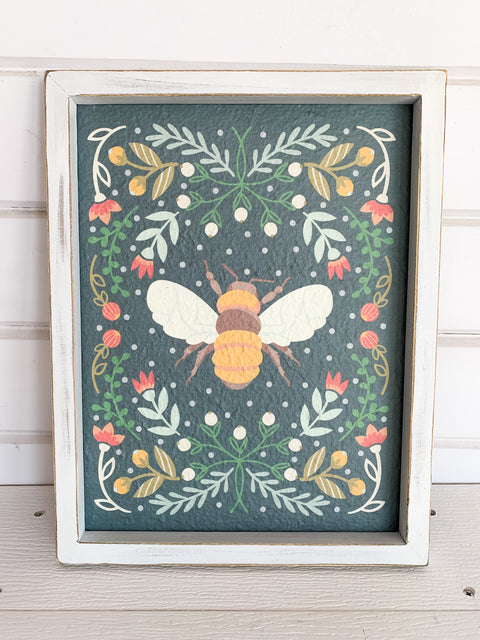 Framed Pastel Bee Print (Multiple Colors)
