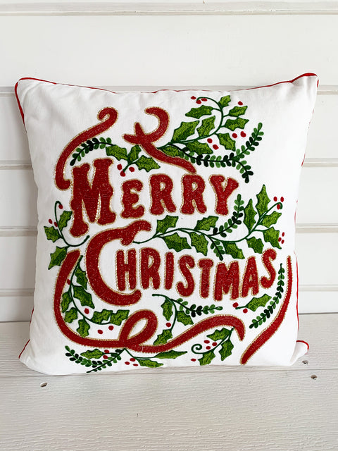 Merry Christmas Beaded Pillow